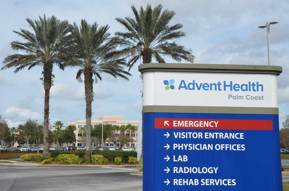 AdventHealth Palm Coast is following state guidelines in limiting visitors, surgeries and procedures during the coronavirus emergency. (© FlaglerLive)