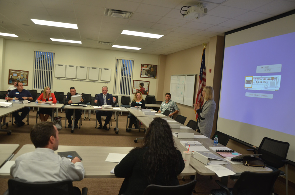 School Board Chairman Janet McDonald last week addressing members of the Citizens Advisory Committee in charge of drawing up a short list of superintendent candidates. (© FlaglerLive)