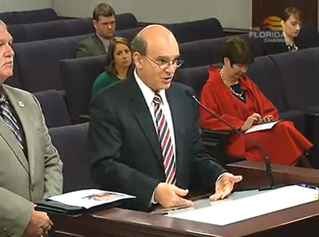 Flagler County Attorney Al Hadeed, appearing alongside County Commissioner Frank Meeker, before a Senate committee Thursday in Tallahassee, to argue against the state's pre-emption of vacation rental regulations. (Florida Channel)