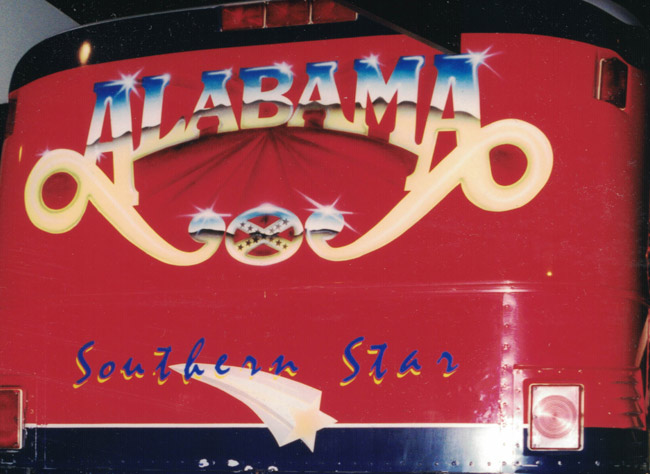 My home's in Alabama: the back of the tour bus long used by Alabama, the country band. (© FlaglerLive)