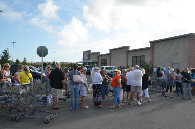About 150 people had lined up in a snaking line around the Aldi parking lot before the Palm Coast store's opening this morning, with more coming in every minute. (© FlaglerLive)