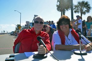 Allen Whetsell and Lisa McDevitt at a Christmas parade in Flagler Beach. (© FlaglerLive)