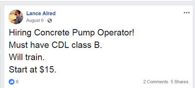 The owner of the concrete pump truck had posted the message above on his Facebook page, when he was looking for an operator.