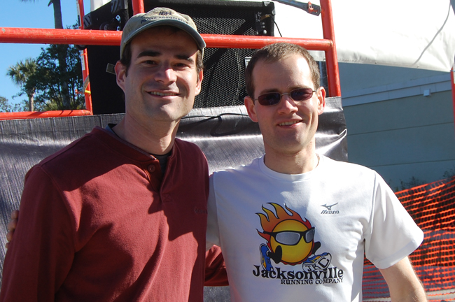Jonathan Alter of Flagler Beach and Brandon Anderson of Bunnell, both 2003 Flagler Palm Coast high school graduates, winners of the half marathon and 5K run