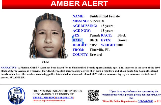 A current Amber Alert disseminated through the Florida Department of Law Enforcement.