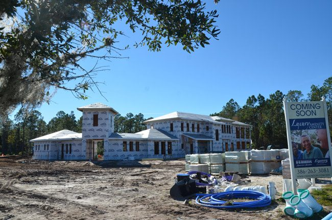 The amenities center at Grand Reserve in Bunnell takes shape as the subdivision itself booms with new construction. (© FlaglerLive)