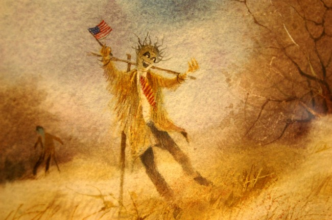 'The American Scarecrow\' series by Win Jones, at the Flagler County Art League Gallery. Click on the image for larger view. (© FlaglerLive)