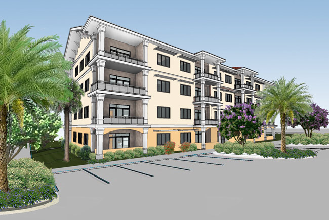 A rendering of what would be one of three apartment buildings at American Village, a new gated community in the heart of Palm Coast's P-Section.