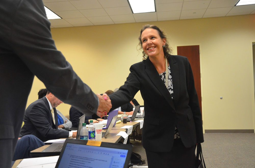 Andrea Totten meeting members of the Judicial Nominating Commission at her interview in late August at the Flagler County courthouse. (© FlaglerLive)