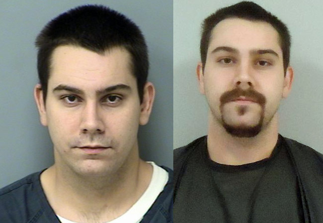 Andrew Dandurand in his most recent booking photo from the St. Johns County jail, left, and from the Flagler County jail.