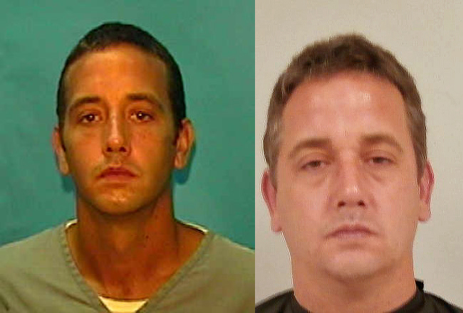 Andrew Rulon, left, when he was sentenced to seven years in prison for armed robbery in 2005, and in his mugshot from last year, when he was booked on burglary charges that led to a new, eight-year prison sentence.