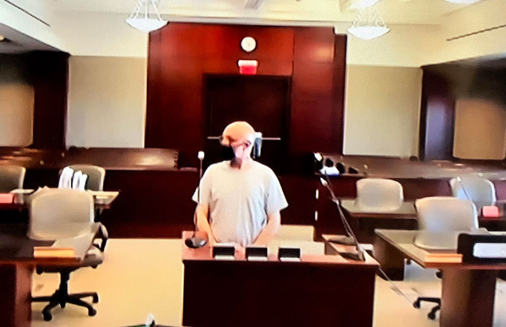 Andrew Wilson appearing in court on Monday in Bunnell, a short distance from his new home (for now), a motel on U.S. 1 in Bunnell. He was released from prison last week. (© FlaglerLive)