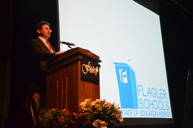 Flagler County School Board Chairman Andy Dance started off the evening's State of Education Address. (c FlaglerLive)