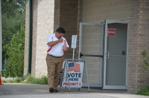 School Board Chairman Andy Dance immediately after voting this afternoon. Click on the image for larger view. (© FlaglerLive)