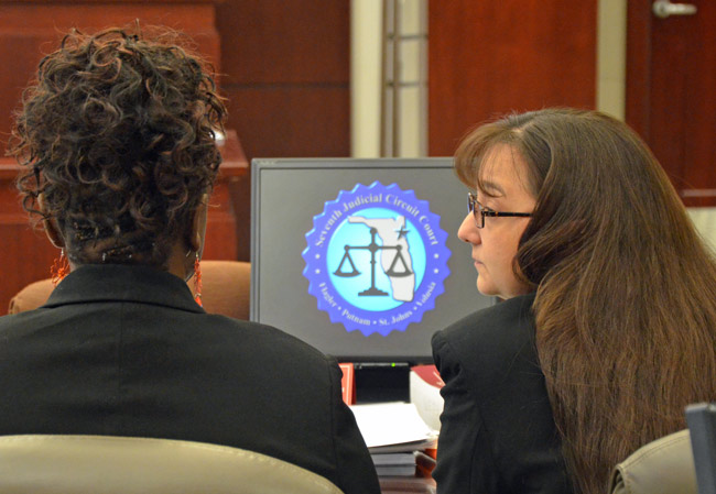 Angela Wray, right, with her attorney in court today, Assistant Public Defender Regina Nunnally. (© FlaglerLive)