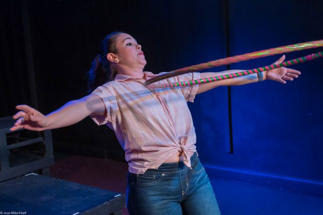 """Angela Young plays the chorus, Hula Hoop included, in City Repertory Theatre's production of Shakespeare's """"Romeo and Juliet."""" (Mike Kitaif)"""