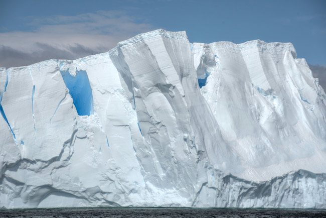 Antarctic ice: On one of the continent's largest ice shelves (not related to the picture above), Larcen C, a segment is preparing to crack away from the shelf front and turn into one of the largest icebergs ever recorded. It may be the size of Delaware. 'Higher temperatures in the region are hastening the ice shelf's retreat,' The New York Times reports. (Scott Ableman)