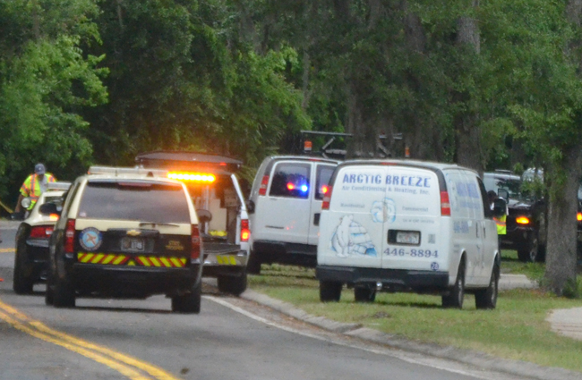The Arctic Breeze van to the right was involved in a collision with a flagman on a resurfacing project on Colbert Lane in Palm Coast Wednesday afternoon. (c FlaglerLive)