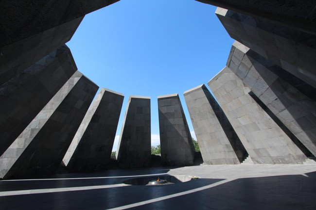 The Armenian Genocide Memorial, better known as Tsitsernakaberd, Armenia's official memorial to the victims of the genocide, in Yerevan, Armenia. Today marks the 100th anniversary of the genocide, in which Turks and Kurds killed some 1.5 million Armenians.