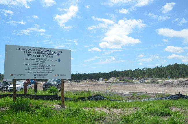 Work has been progressing at the 34-acre site of the future home of the Army National Guard's Readiness Center, at the south end of the Flagler County Executive Airport. The $22 million, 76,708 square foot facility will employ 30 to 40 people at a time and should open by year's end. (© FlaglerLive)
