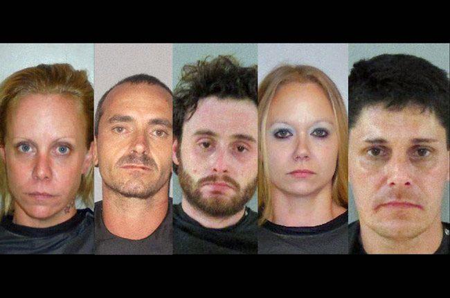 The Raemoor Drive arrests in Palm Coast. From left, Margaret Tillman, Glenn James Moratto, Jordan Cheney, Samantha Tillman, and John Jakobson.