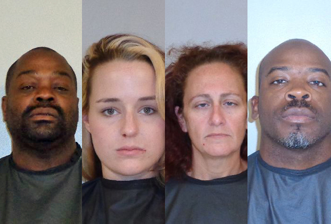 Some of the Flagler County suspects arrested in today's sweep. From lef, Cecil Hubbert, Sloane Book, Jessica Bomford and Chad Blunt.