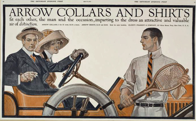 An Arrow ad in the Saturday evening post, April 13, 1912. (New York Public Library)