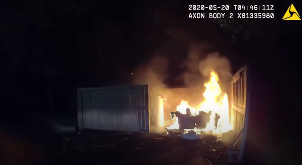 The second fire allegedly set by Daniel DaCosta, near Publix on Belle Terre Parkway early this morning. (FCSO)