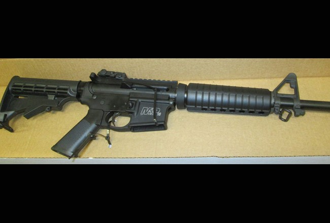 The assault rifle, which the sheriff's office identified as a M & P/Smith & Wesson .223 assault rifle, seized at Anthony DiBella's P-Section home today.