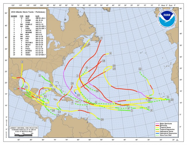 2010 track map for the Atlantic Basin. Click on the image for larger view. (NOAA)