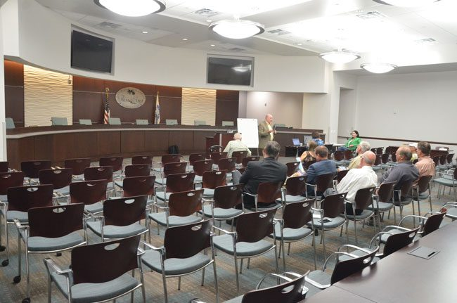 Just 13 people turned up this morning at City Hall at the first of two workshops seeking public input on Palm Coast's next city manager. (c FlaglerLive)