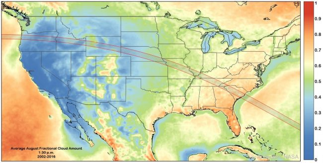 A few hours after sunrise, a rare total eclipse of the Sun will be visible along a narrow path across the USA. Those only near the path will see a partial eclipse. Although some Americans live right in path of totality, surely many more will be able to get there after a well-planned drive. One problem with eclipses, though, is that clouds sometimes get in the way. To increase your clear-viewing odds, you might consult the featured map and find a convenient destination with a historically low chance (more blue) of thick clouds overhead during totality. Given the large fraction of Americans carrying camera-equipped smartphones, this American Eclipse may turn out to be the most photographed event in the history of the world.