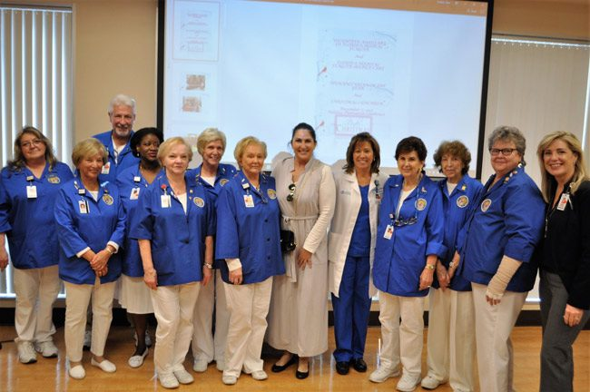 Palm Coast Mayor Milissa Holland installed the Florida Hospital Flagler's volunteer auxiliary's 2018 board members. The new board includes: Marge Sisti as president, JoAnn Durand as first vice president, Marcus Ellison as second vice president, Kerry Lawrence as recording secretary, Kitty VanHorn as corresponding secretary, Jeannette Kainu as treasurer, Angie Troike, as assistant treasurer, and Carol Bryant as past president. Maggie Bunker and Patty Mercer will serve as members at large. Each board member will serve a two-year term and is responsible for overseeing, guiding and training all the committees and areas the volunteer auxiliary serve. (FHF)