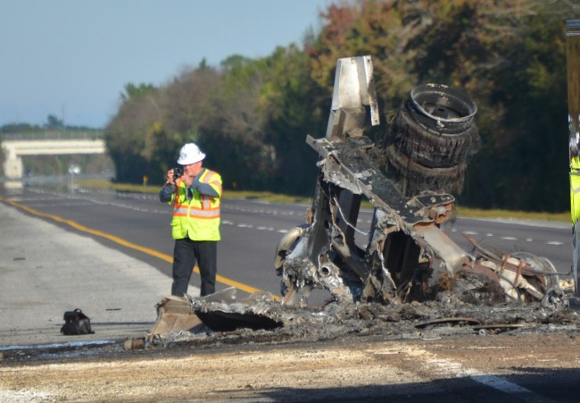 The remains of the back end of the tanker truck. Click on the image for larger view. (© FlaglerLive)