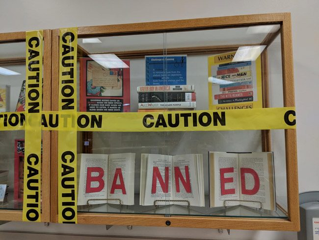 A detail from some of the Banned Book Week displays at  the Flagler County Public Library. The images were posted by Library Director Holly Albanese. See more below.