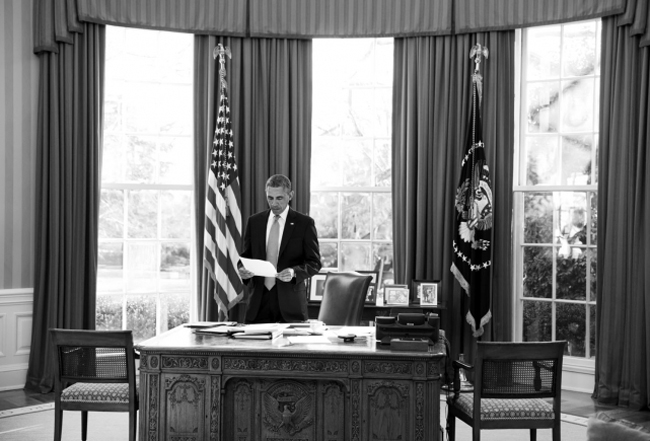 President Obama in his office on Jan. 7. (White House)