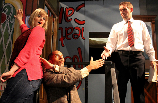 The Flagler Playhouse has a new stage for its new season, which started with 'Barefoot in the Park.' From left, Kara Casey as Corie Bratter, N. Deshawn Matos as Victor Velasco and  Bruce Popielarski as Paul Bratter. (© Flagler Playhouse)