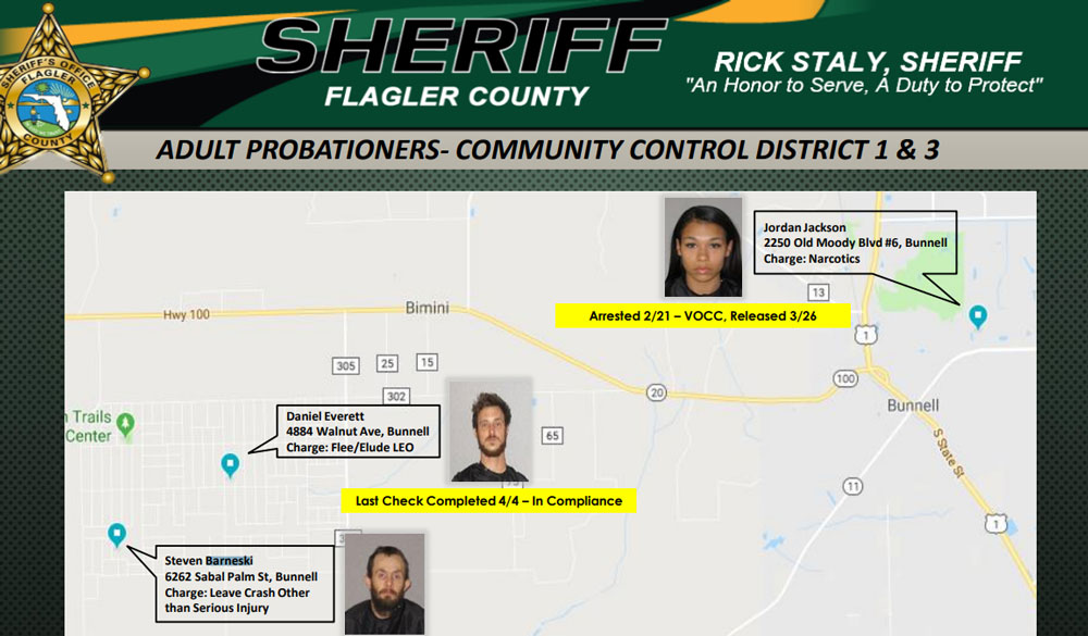 The location of the officer-involved shooting, 6262 Sabal Palm Street at the southwest end of Daytona North in Bunnell, is well known to Flagler County Sheriff's deputies as the home of one of the probationers they check on, and discuss at the weekly Crimemaps meeting, as in the slide from one of those meetings, above.