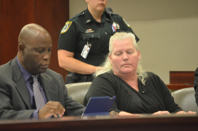 Defense attorney Junior Barrett and Dorothy Singer at the beginning of jury selection this morning at the Flagler County courthouse. (c FlaglerLive)