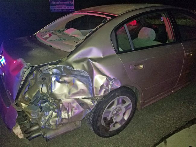 Larry Batson's Altima, which he was driving, with his wife and two daughters aboard. (FCSO)