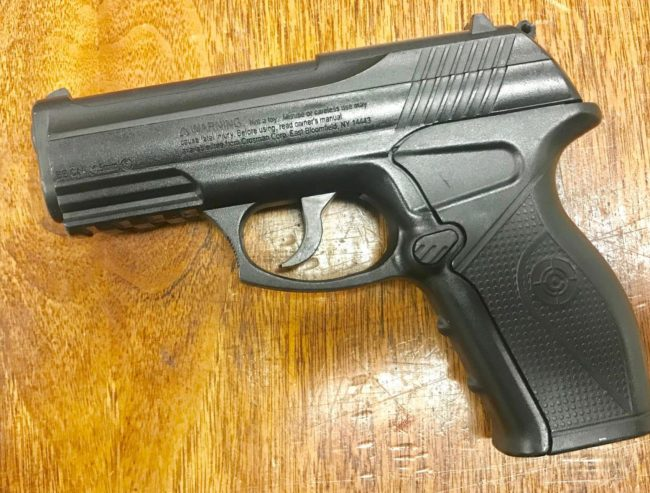 The BB gun allegedly used in Wednesday's incident at the periphery of Bunnell Elementary School, in an image provided Friday afternoon by the Bunnell Police Department. Click on the image for larger view.