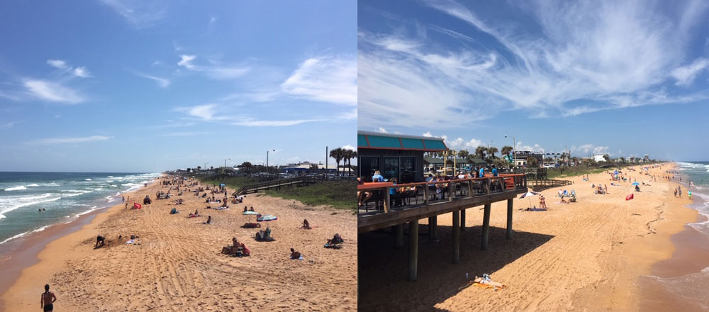 Views on either side of the Flagler Beach pier as taken by Police Chief Matt Doughney between 1 and 2 p.m. Wednesday. Doughney told city commissioners today crowds have not been an issue on the city's beaches.