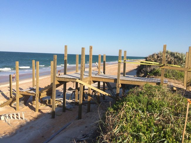 One of several beach walk-overs being--or soon to be--rebuilt in Flagler Beach, after being destroyed by Hurricane Matthew. (© FlaglerLive)