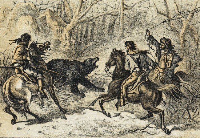 Three men on horses hunting a bear, from a late 19th century print of American trade cards, held by the print department of the Boston Public Library.