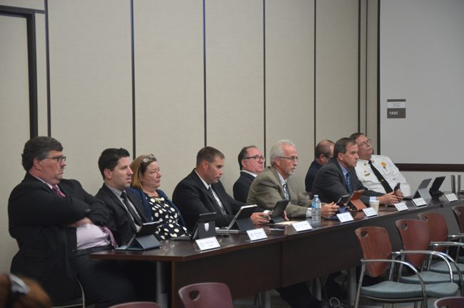 Beau Falgout, second from left, and named assistant city manager in February, with Palm Coast's eight other directors at a meeting last summer. Since then, Chris Quinn, left, took a job in Gainesville. (c FlaglerLive)