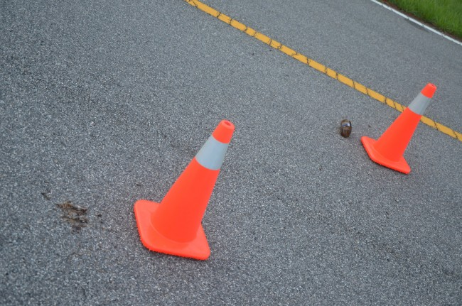 Cones mark a broken beer bottle. Click on the image for larger view. (© FlaglerLive)