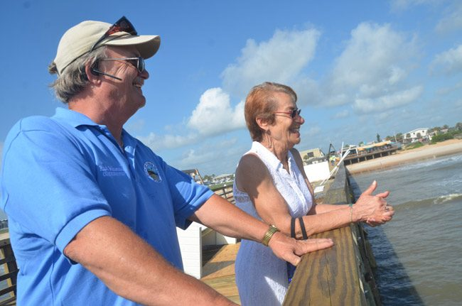 Flagler Beach Commissioners Rick Belhumeur and Jane Mealy have a lot to smile about: the Flagler Beach Pier reopens Saturday, after an eight-month quarantine for repairs. (© FlaglerLive)