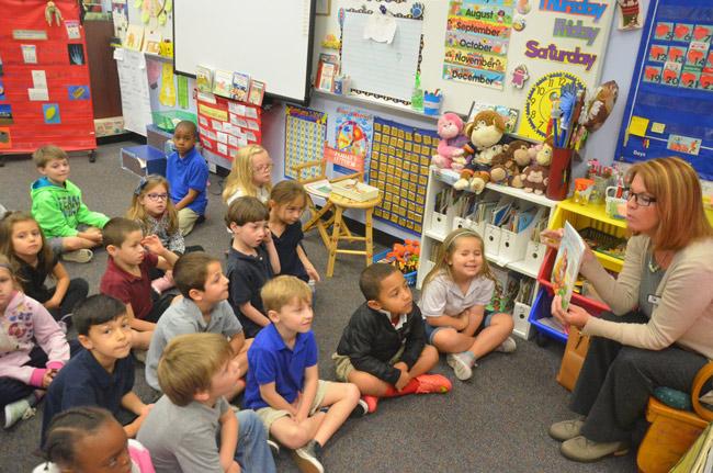 School Board member Colleen Conklin at Belle Terre Elementary's African-American Read-In last year. (© FlaglerLive)