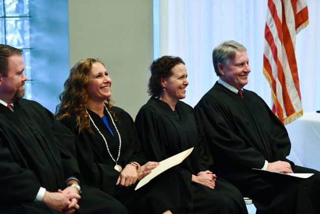 The strength of Flagler County's bench. From right, Circuit Judge Terence Perkins, County Judges Andrea Totten and Melissa Distler, and Volusia County Judge Chris Miller. (AJ Neste)