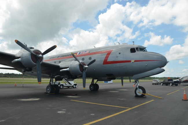 The Spirit of Freedom, a C-54 that flew in the Berlin Airlift of 1948-49 and is now a flying museum, will be at the Flagler County Airport through Sunday for Wings Over Flagler. Click on the image for larger view. (© FlaglerLive)